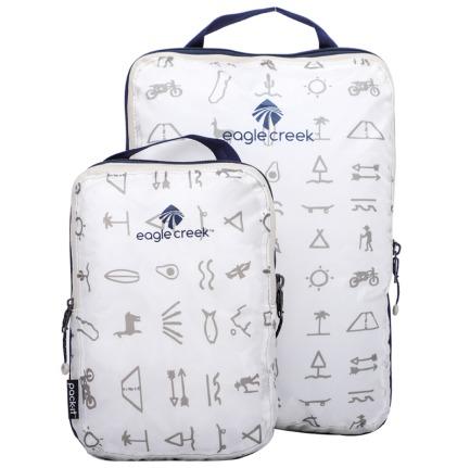颜色/白色玛雅印花衣物压缩袋(2件套)