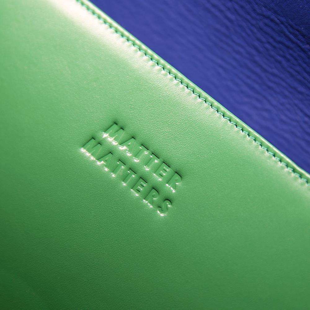 真皮几何拼接小号单肩包(草绿)