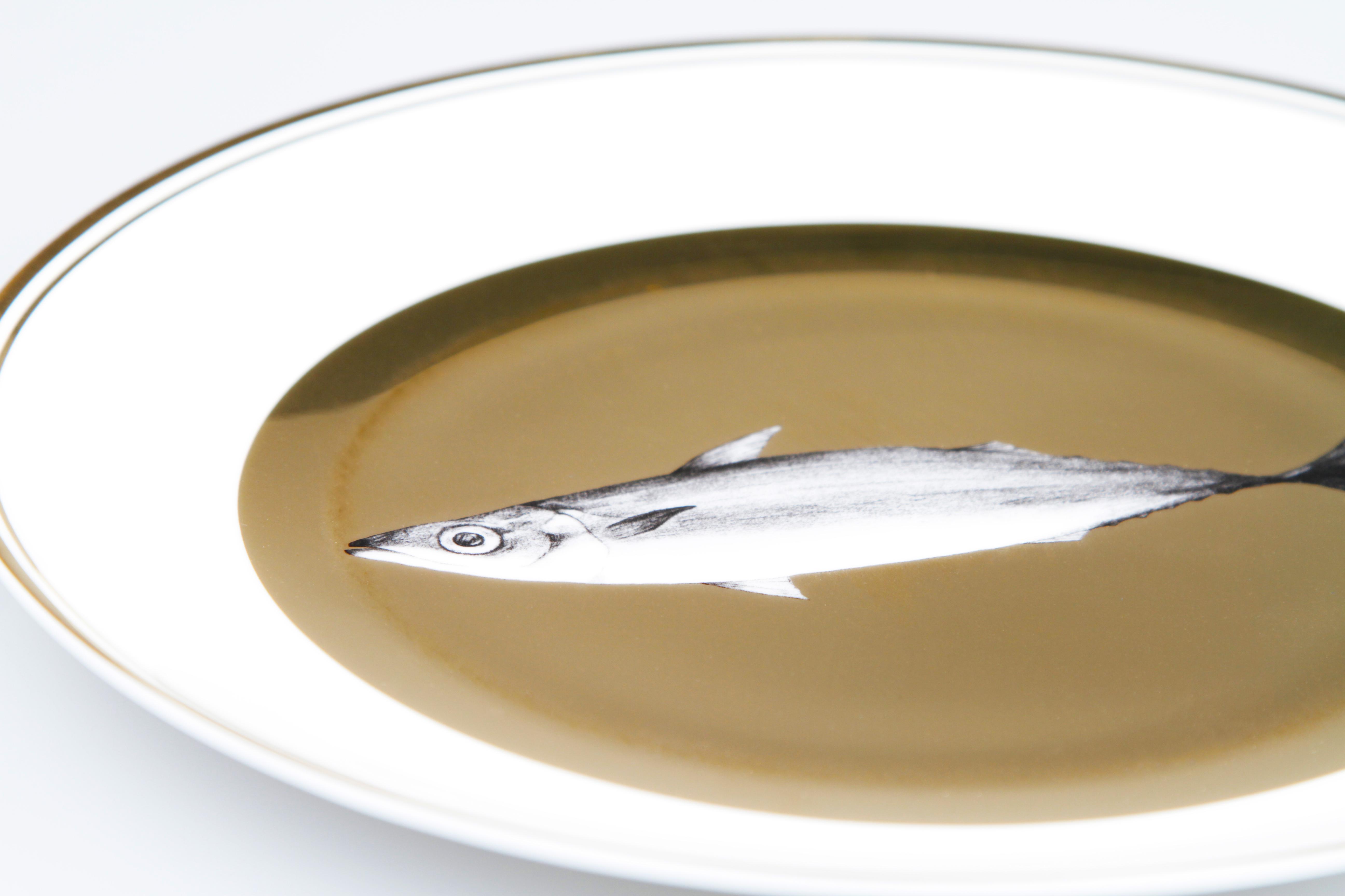 美美生味之秋刀鱼盘 金面骨瓷盘