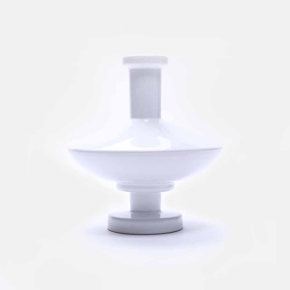 白色陶瓷几何花瓶 V4
