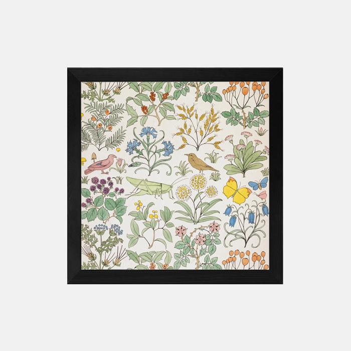 鸟类和昆虫图案的纺织品设计 装饰画(定制品15个工作日内发货)