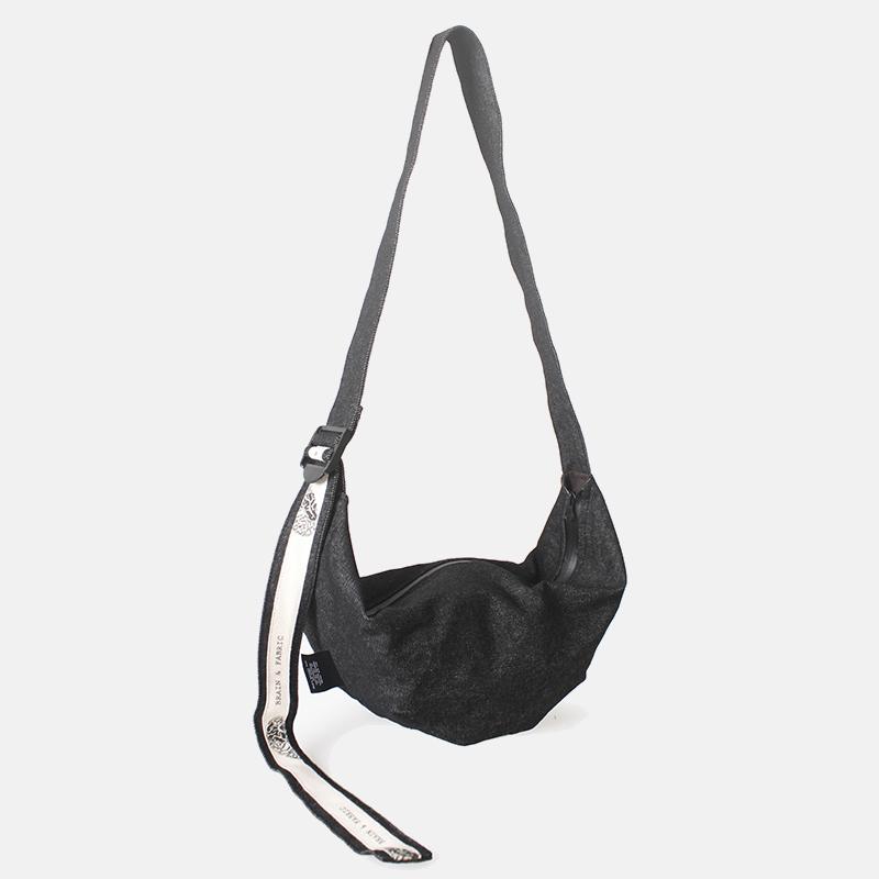 黑色绳牛仔斜挎饺子包 | 随身轻便