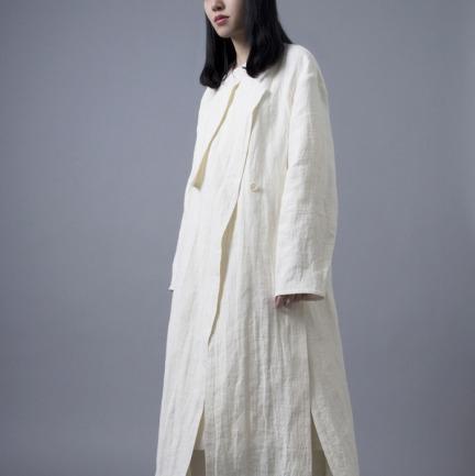 米白色双面亚麻无领风衣式开衩长外套