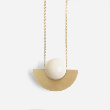木珠配黄铜盘项链