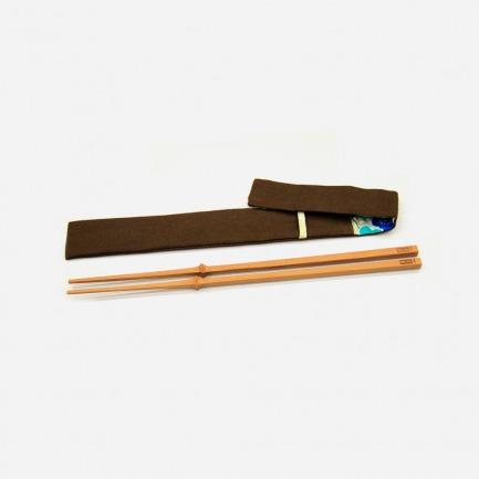 自立竹筷27cm(四节)+特制筷套