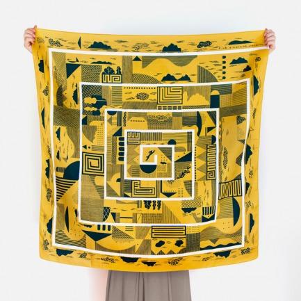风吕敷丝巾-迷宫   日剧里的小包裹 便当巾