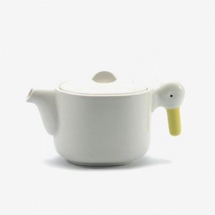 日本陶器CERAMIC JAPAN奶白色小鸭茶壶茶杯杯子套装
