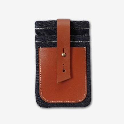 <李合张>牛仔真皮 手机包 零钱 卡袋