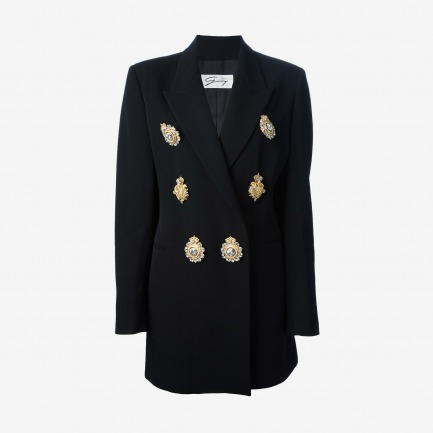 Genny By Gianni Versace Vintage Brooch Embellished Blazer Suit