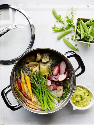 Steamed Spring Vegetables with Garlic-Herb Aioli
