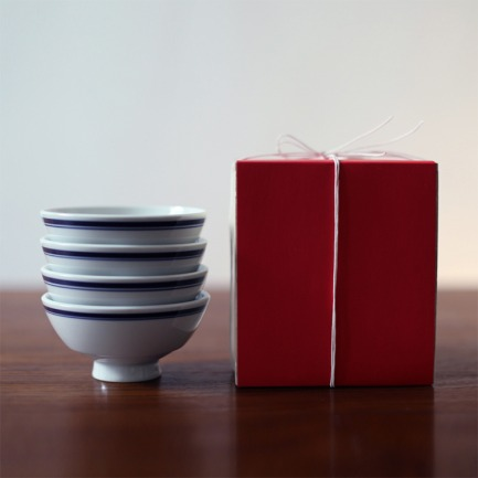 复古餐碗 福字款礼盒装 | 蓝边白瓷饭碗 4只装