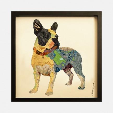 绿色小狗-手工拼贴装饰画 | 每幅都是独一无二的艺术品