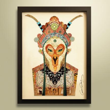 脸谱#1 手工拼贴装饰画 | 每幅都是独一无二的艺术品
