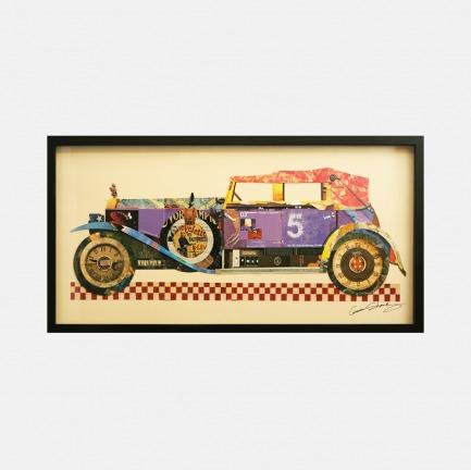 老爷车#2 手工拼贴装饰画 | 每幅都是独一无二的艺术品