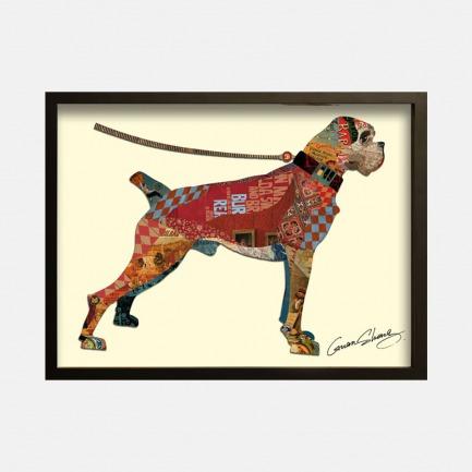 红色小狗-手工拼贴装饰画 | 每幅都是独一无二的艺术品