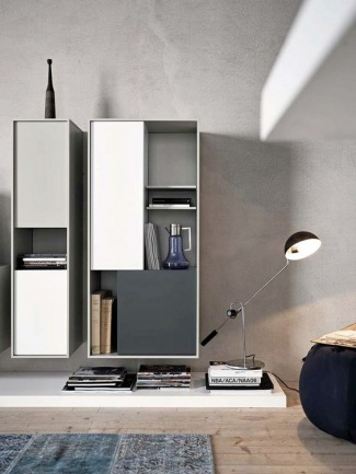 Wall-mounted lacquered storage wall C_DAY K14 by CESAR ARREDAMENTI | Gian Vittorio Plazzogna