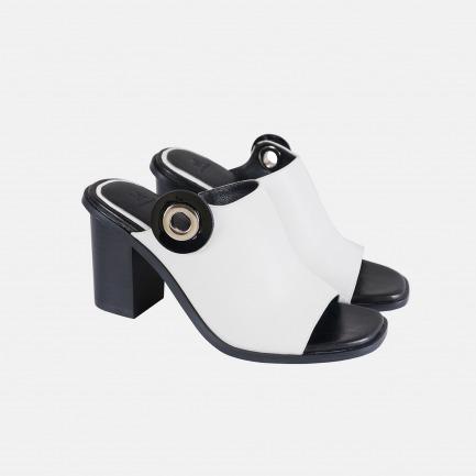 优雅真皮白色高跟穆勒鞋   几何图形叠加 黑白个性设计
