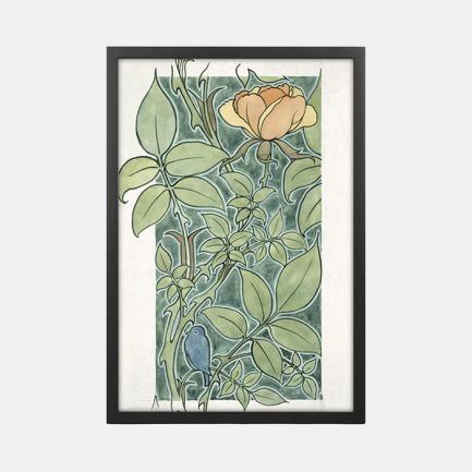 自然装饰画 玫瑰与小鸟 | 英国C. F. A. Voysey作品