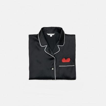 黑色真丝睡衣套装 爱心款 | 长/短袖2款可选 赠真丝眼罩