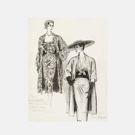 装饰画 裙子外套的时尚素描 | 法国Marcel Fromenti作品