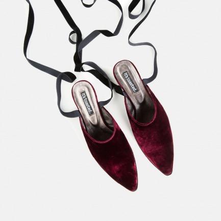 酒红丝绒绑带穆勒鞋 | 设计复古优雅 质感非凡