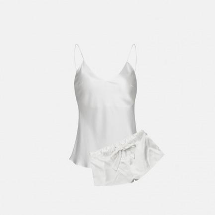 桑蚕丝净荼白吊带短套装 | 纯真与性感完美的融合