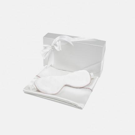 美肌甜睡真丝礼盒 白粉色 | 顶级桑蚕丝精制枕套+眼罩