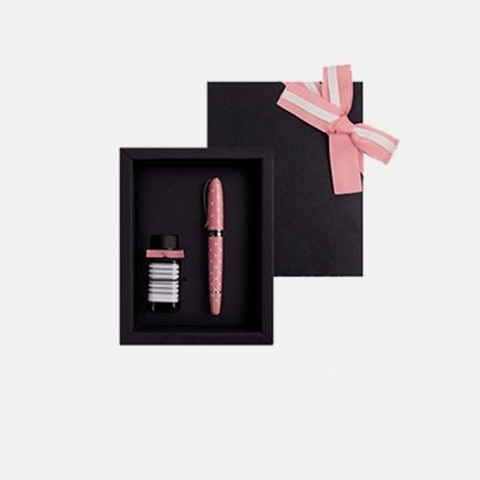 安迪钢笔墨水礼盒 粉红圆点   高品质钢笔 小瓶墨水套装