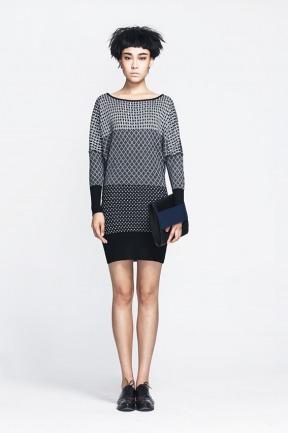 lou de nannan 独立设计师品牌 羊毛黑白提花针织连衣裙