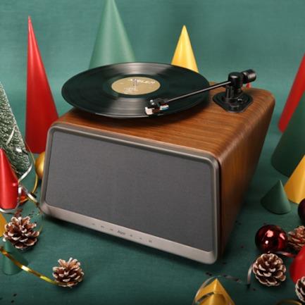 能听黑胶唱片的蓝牙音响 | 低调内敛的胡桃木色