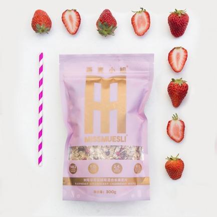 树莓草莓蔓越莓混合水果麦片 | 能吃到大颗果粒的有机麦片