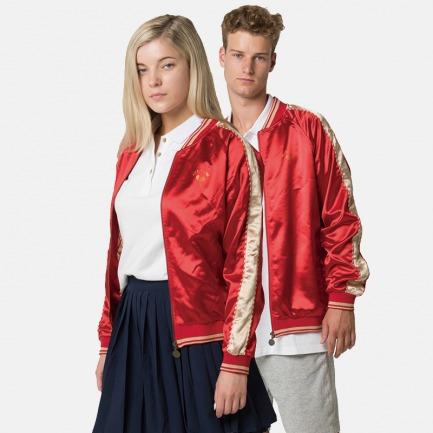 新春红色情侣运动夹克 | 豪华缎面 精致刺绣