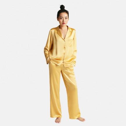 真丝睡衣套装-金沙黄 | 居家服也可外穿 送眼罩