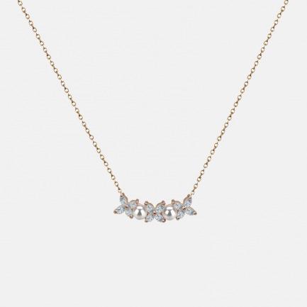四叶草珍珠锆石镀金项链   镶有天然锆石及迷你珍珠