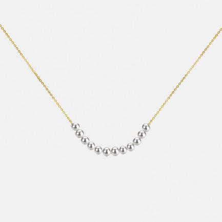迷你珍珠精致18K金项链   优选12颗天然珍珠超精致