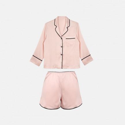 真丝触感7分袖睡衣套 | 意大利奢华精致家居服