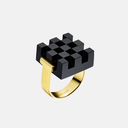黑色华夫方格戒指 | 造型精致 银镀玫瑰金