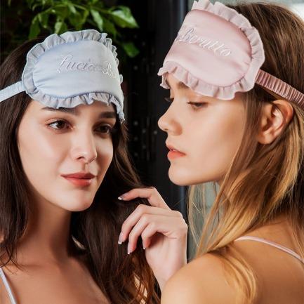 蕾丝拼接绣花眼罩 | 意大利奢华精致家居服