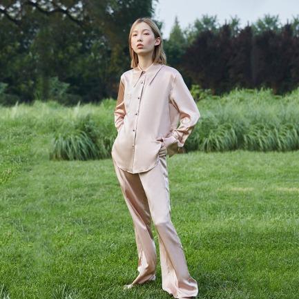 真丝衬衫睡衣套装 | 100%桑蚕丝 裸粉、豆绿可选