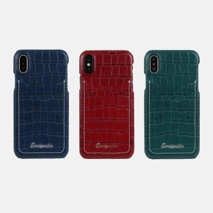 鳄鱼纹牛皮iPhoneX手机壳 | 高档牛皮质感 时尚鳄鱼纹