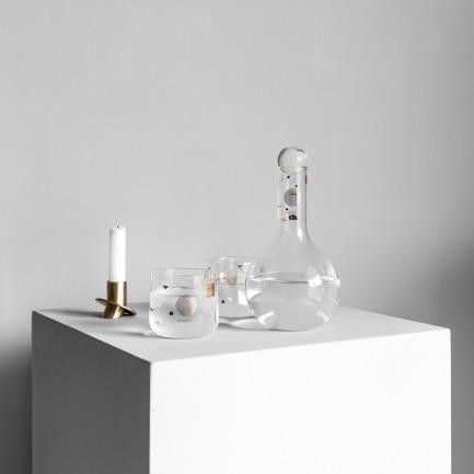 金色几何印花玻璃水壶套装 | 一壶两杯 质感轻薄剔透