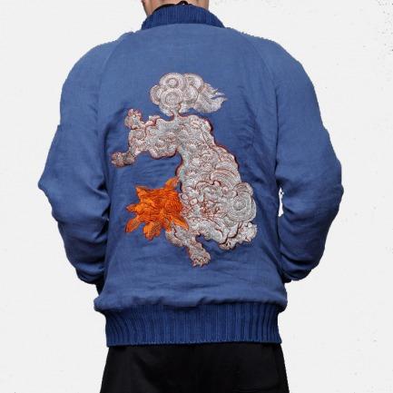 男士浮世绘棉麻刺绣夹克 | 后背狮子刺绣 精巧独特