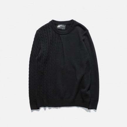 不对称拼接麻花编织针织衫 |  秋冬百搭 男女同款