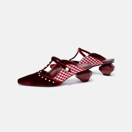 褶皱撞色玛丽珍切面蛋跟鞋 | 原创设计 时尚独特
