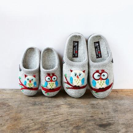 100%羊毛毡亲子拖鞋-猫头鹰 | 德国百年手工艺品牌打造