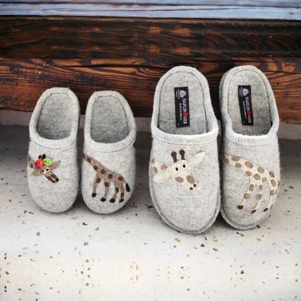 100%羊毛毡亲子拖鞋-长颈鹿 | 德国百年手工艺品牌打造