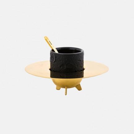 宇宙美学系列 月亮杯套装 | 黄铜杯架&神秘黑咖啡杯
