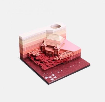 撕出一座清水寺的3D便签 | 美的像件艺术品