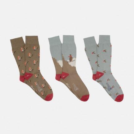圣诞限量款男士袜子礼盒-3双 | 英国王室御用的手工棉袜