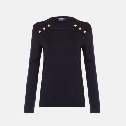 圆领长袖羊毛衫-女款 | 100%羊毛 经典素色